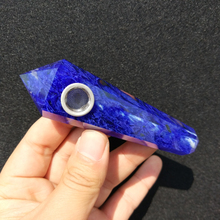 Прямая натуральный синий плавильный кварцевый кристалл курительная трубка+ фильтр кварцевый камень целебная палочка X07
