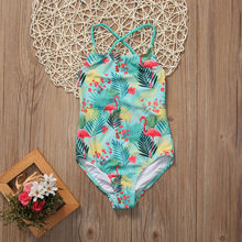 Cute Toddler Baby Girls Kids Leaves Floral Flamingo Swimsuit Bather Suit Tankini Bikini Set One Piece Swimwear