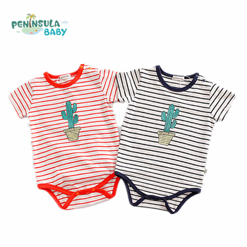 2017 Baby Bodysuits Boy Girl Clothes Summer Infant Jumpsuit Stripe Cactus Body Suit For Newborn Baby Clothing Costume