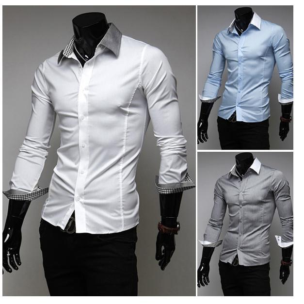 b4db670c 2013 Fashion Men Cufflinks Shirt Famous Matching Color Turn-Up Long Sleeve  Casual Slim Fit Men Dress Shirt Free Shipping 9024