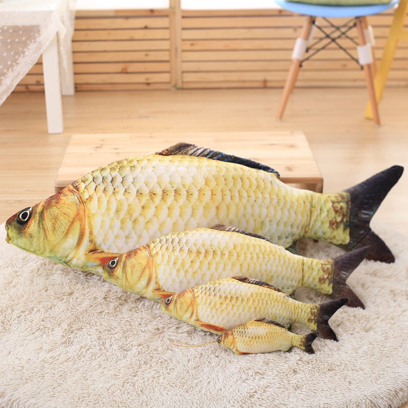 Dm crucian fish pillow stuffed plush animal 3d simulation for Little fish toys