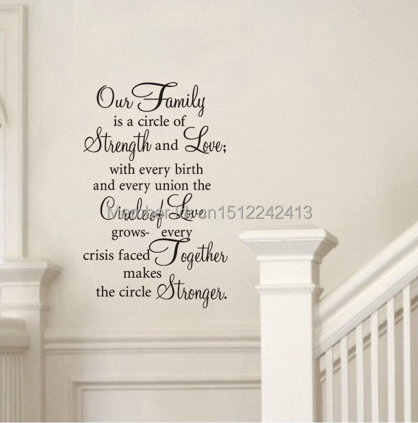 Our Family Is A Circle Of Strength Love Home Decor Wall Art Decals