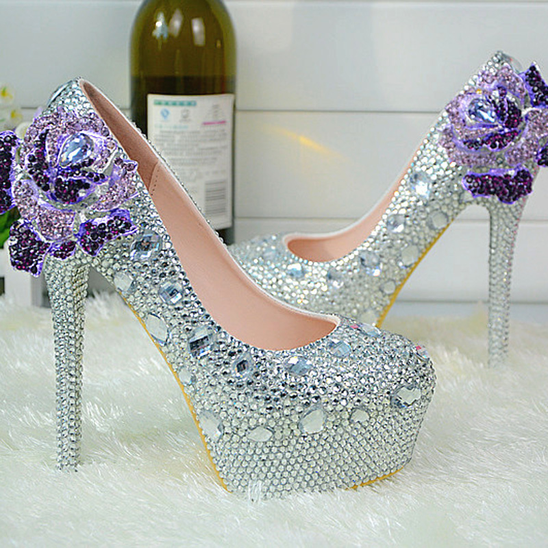 High Heel Bridal Dress Shoes Women Prom Party Pumps Rhinestone Crystal Wedding Shoes Platform Silver Bridesmaid Shoes Plus Size купить