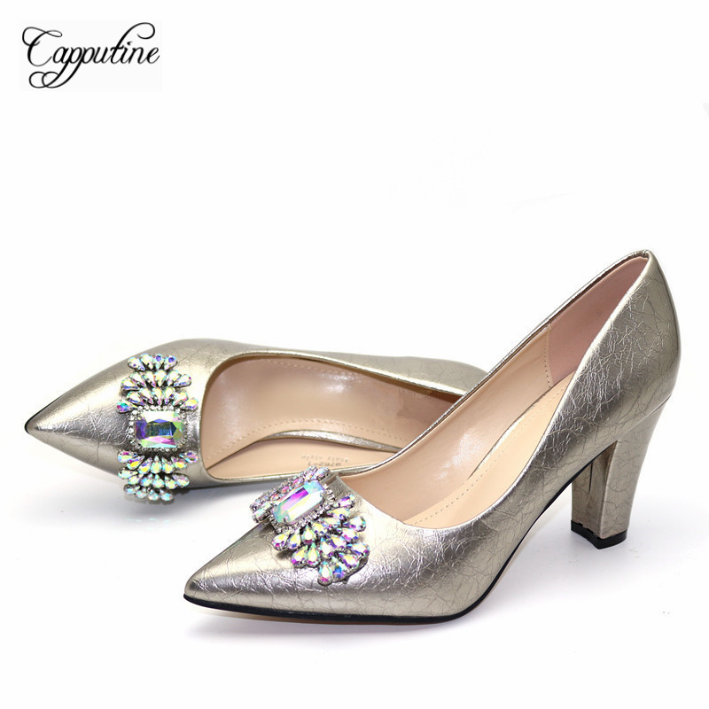 Gray Color Sumps Women Shoes For Evening Party Decorated With Rhinestone Shoes <font><b>High</b></font> <font><b>Heels</b></font> Shoes For Party Dress <font><b>50</b></font> USD image