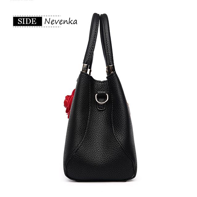 Nevenka Fashion Women Bag Handbag PU Shoulder Bag OL Messenger Bags Casual Flowers Crossbody Bags Travel Tote Purse Teenager Sac