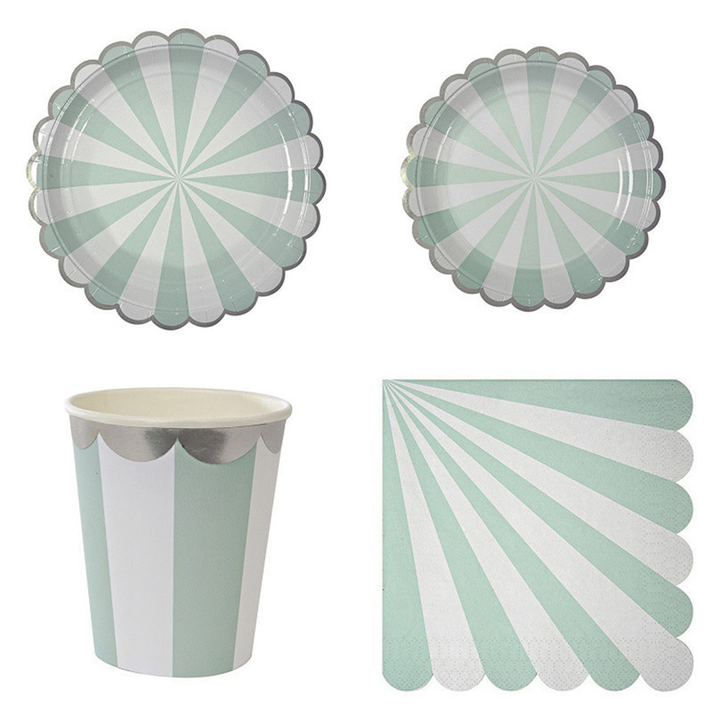 Gold Blocking Mint <font><b>Green</b></font> Striped Disposable Tableware Set Paper Plates <font><b>Cups</b></font> Napkins <font><b>Party</b></font> Wedding Carnival Tableware Supplies