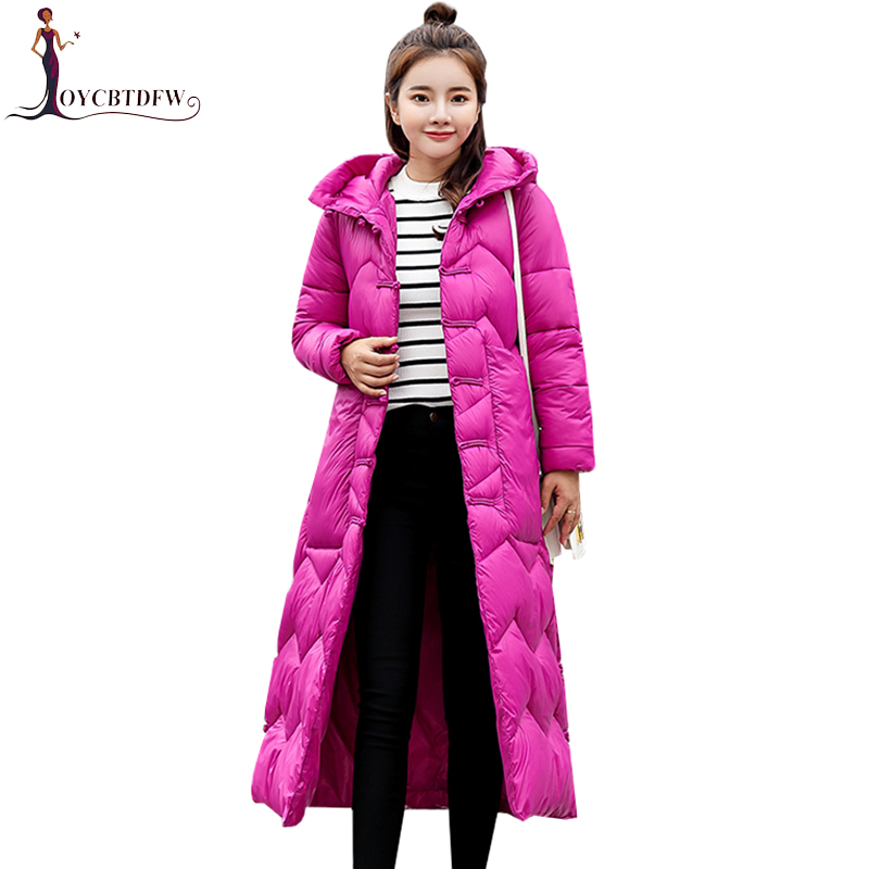 2018 Winter Women   Down   Jacket   Coat   Fashion Korean Long Hooded Parka Single Row Cloth Buckle Outerwear Female   Down     Coats   XY366