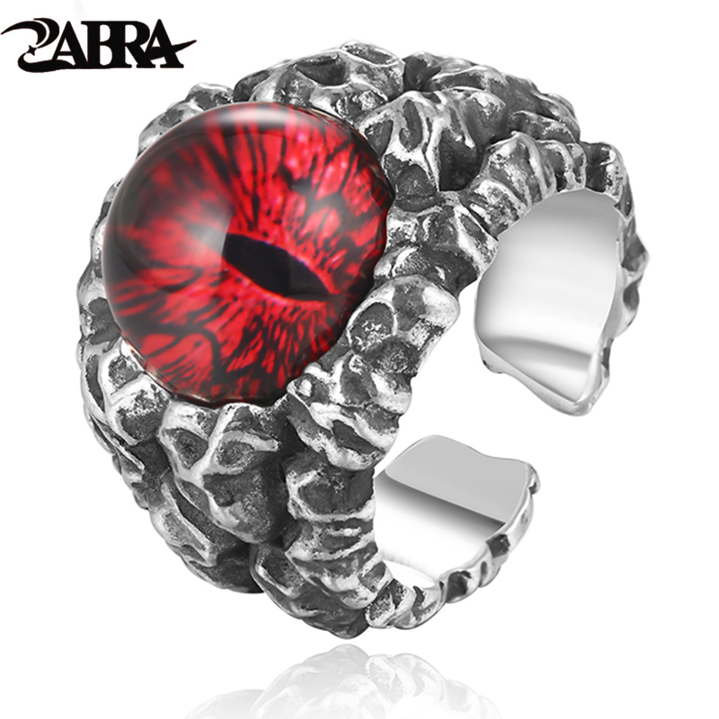 ZABRA 925 Sterling Silver Cool Ghosts Eyes 2 Colors Rose Red Yellow Stone Rings for Men Vintage Gothic Ring Punk Mens Jewelry