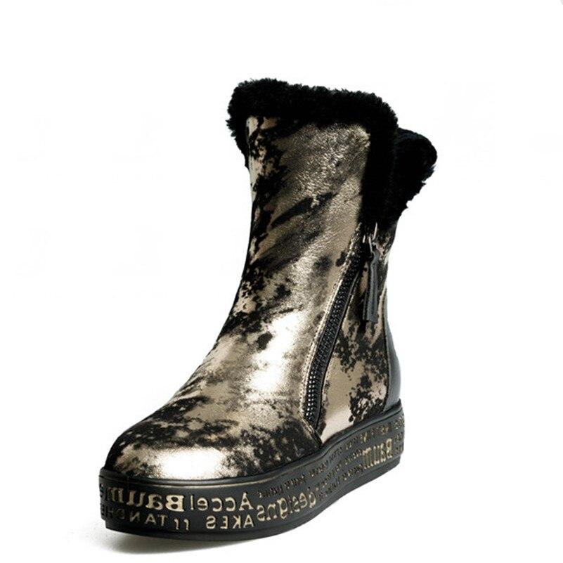 FEDONAS Top qualité mode femmes peau de mouton laine hiver chaud en cuir véritable bottes de neige chaussures femme plate forme fourrure bottines - 4
