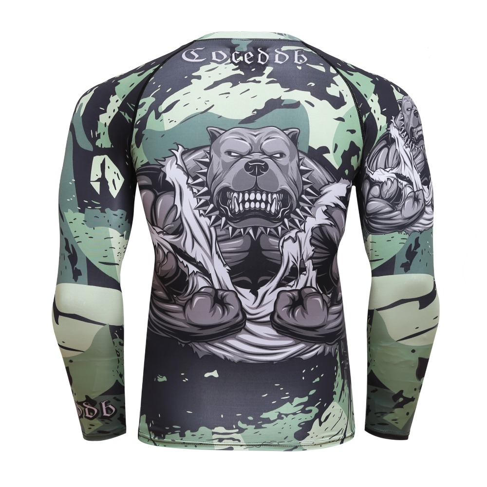 Sports Compression Shirt Homme Running T-shirt Gym Men Long Sleeve T-Shirt Quick Dry Jersey 3D Print MMA Top BJJ Tee cody lundin