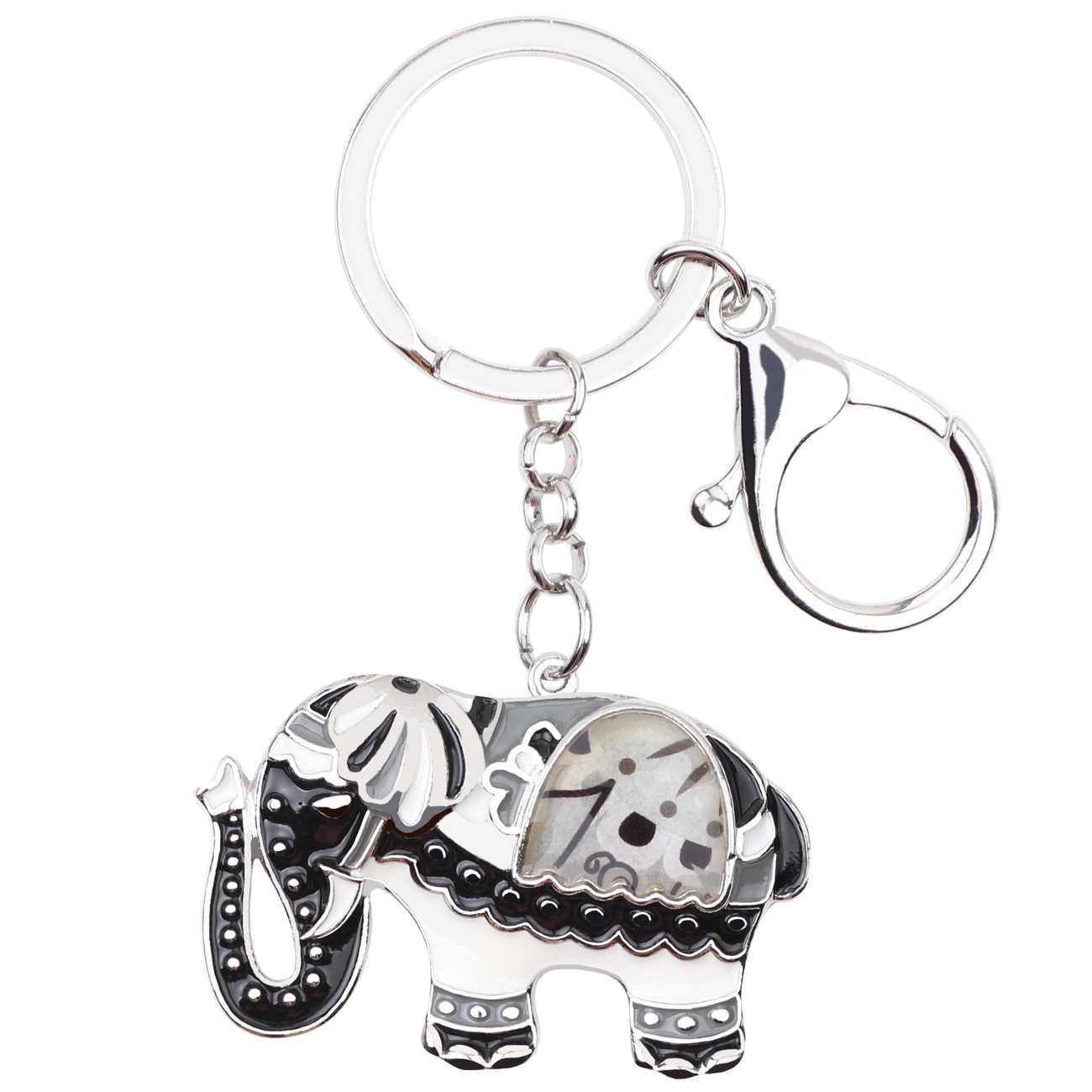 Bonsny Men Kim Loại Elephant Key Vòng Chìa Khóa Xích Cho Phụ Nữ Túi Xách Charm Động Vật Thời Trang Trang Sức Keychain Phụ Kiện