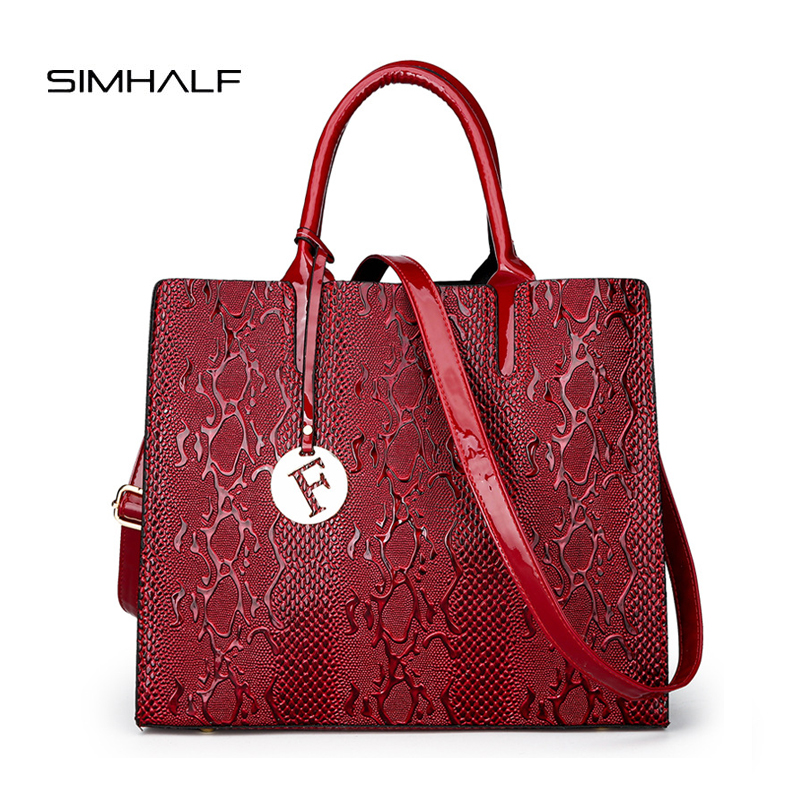 SIMHALF New Fashion PU Leather Women Bag Ladies Luxury Snake Shoulder Bags Designer Handbags High Quality Spring Ladies Tote Bag