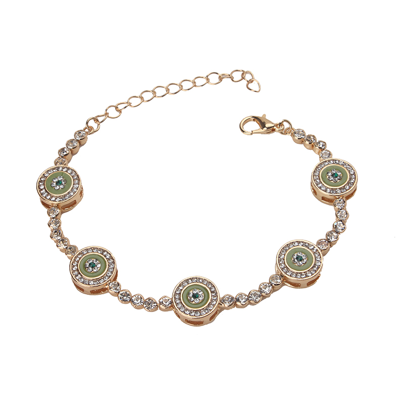 Trendy Blue Evil Eye Tennis Bracelet For Women Chain & Link Pulseiras Rose gold Green Color Jewelry Women Bracelet