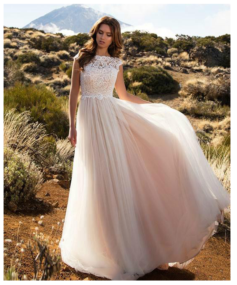 Lorie Lace Wedding Dresses 2019 Appliqued With Lace A Line: LORIE Boho Ivory Wedding Dress A Line Appliques Puff Tulle