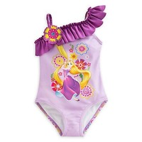 Retail Cute Girls Swimwear Tangled One Piece Swimsuit Kids Ruffled Beach Suit For Girl Children Suit