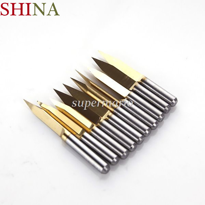 10x Titanium Miling Cutters Coated Carbide PCB Engraving CNC Bit Router Tool 3.175*40 Degree 0.1mm Tip