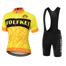 WOLFKEI Yellow Short Sleeve Cycling Jersey+Bib Shorts Sets/MTB Bike Wear Racing Cycling clothing Can Be mixed size to buy#WK2508(China)
