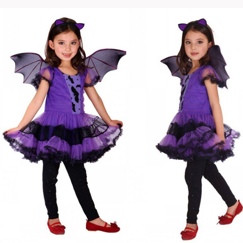 Purple Bat Girl Halloween Cosplay Costume Dress+Hat Clothing Set for 2-15Y Girl Children Teenager Female Witch Role-playing Suit цена