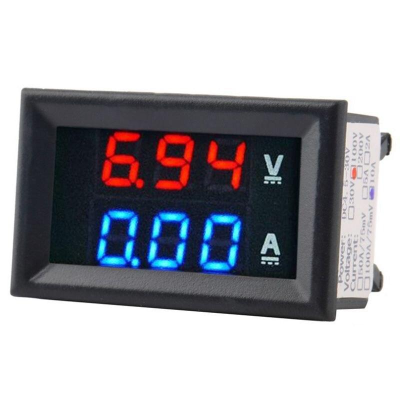 Digital Voltage Meter Dc100V 10A Voltmeter Ammeter Blue+Red Led Amp Dual
