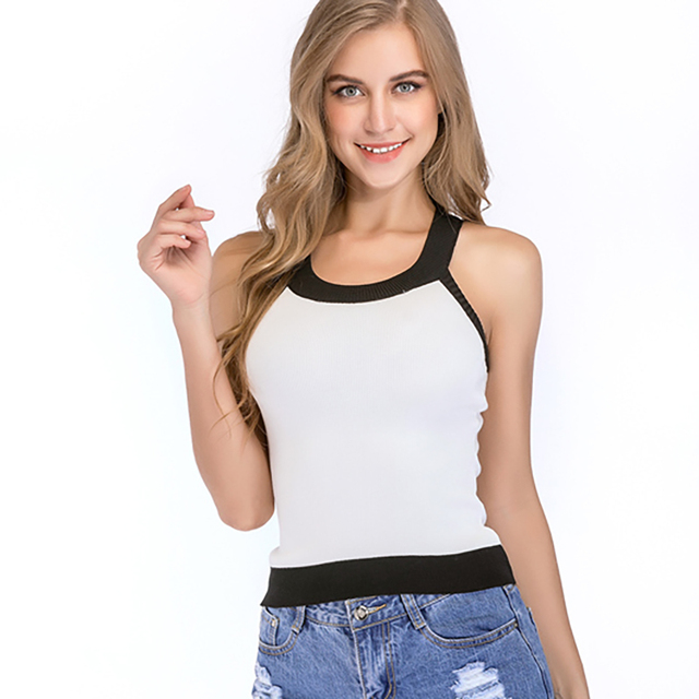 1cec210fa3 Summer Tops Black White Tank Top Women Sexy Sleeveless O Neck Knitted Funny Woman  Clothes Haut Femme Ete 2018 Camisole Female