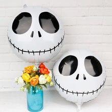 Tête de squelette ronde 18 pouces, 5 pièces, ballon citrouille Halloween en aluminium, ballon Vampire pour fille, décoration d'halloween, fournitures de fête