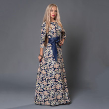 s.flavor  women long dress hot sale 2017 spring summer russian style print dresses long floor-length elegant
