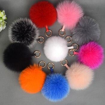 Ms.MinShu Fox Fur Charm Natural Fox Fur Pompom Keychain Genuine Fox Fur Balls for Caps Real Fox Fur Charms Keyring Wholesale фото