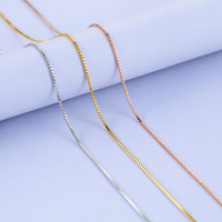L P New Fashion Available Real 925 Sterling Silver Slim Box Chain Necklace Womens Mens Kids