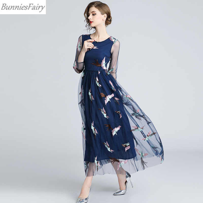 c8370840088c5 BunniesFairy 2018 Fall New Women Bohemian Boho Style Phoenix Bird Animal  Embroidered Navy Blue Mesh Midi Dress Long Sleeve
