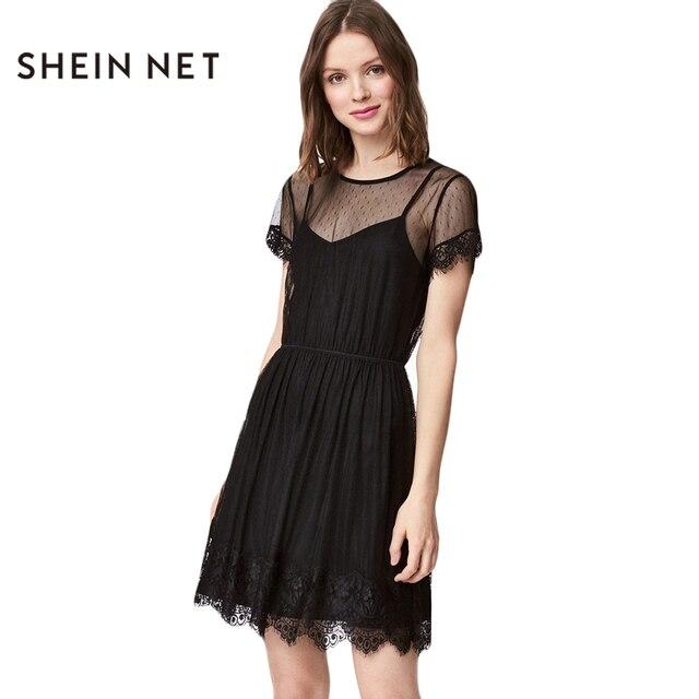 2e565f4fa Sheinnet 2017 Solid Negro Sexy Malla Transparente Mini Vestido Ropa de  Mujer Elegante Ata Para Arriba