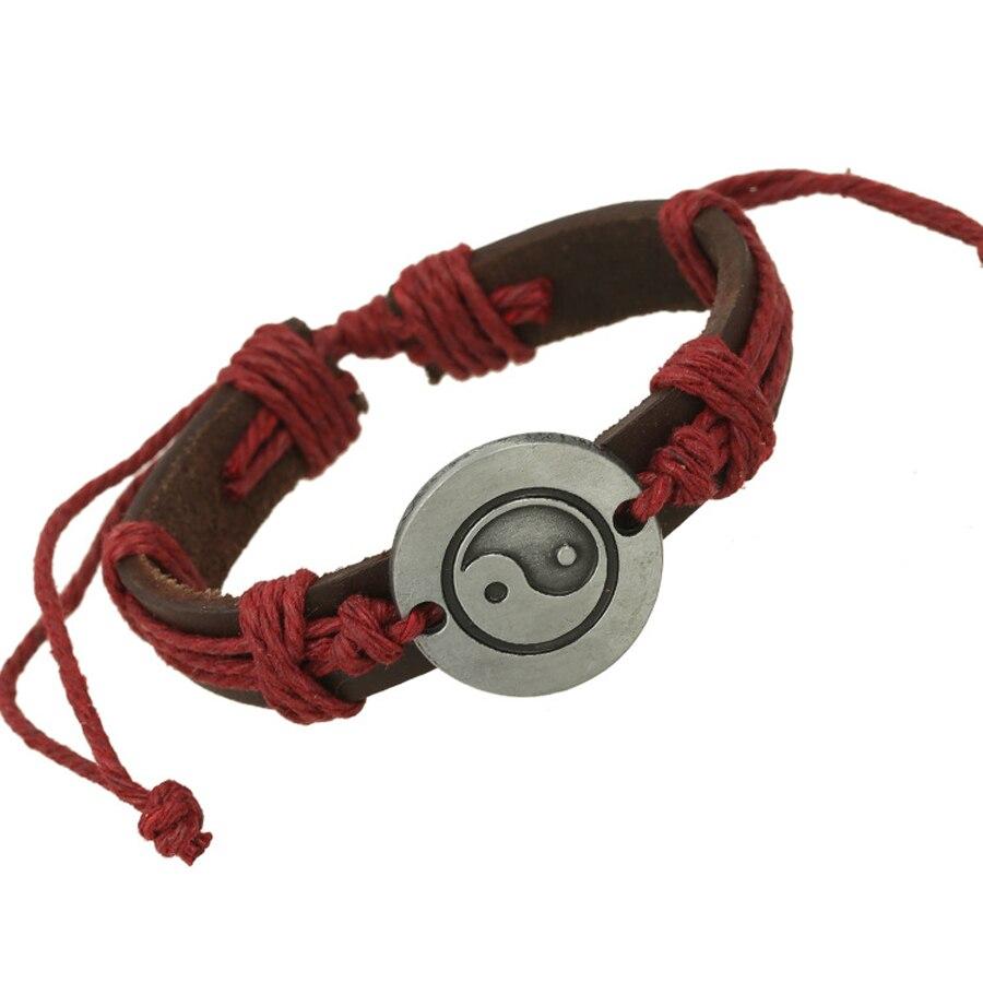 Punk Vintage Leather Bracelet Women Handmade Twine Wristband Genuine Leather  Cuff Bracelets For Women Men Jewelry