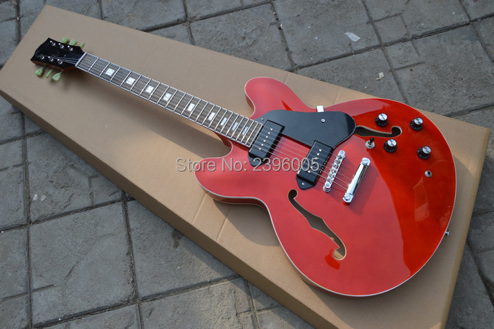 Custom shop ES semi hollow electric guitar,hollow body 335 version electric guitar.P 90 pickups.red color guitar high quality hot selling g custom shop limited lp florentine jazz semi hollow body electric guitar desert burst in stock
