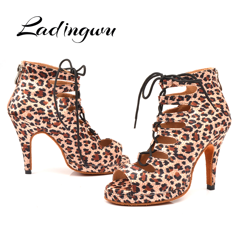 Ladingwu Platform Dance Boots Wide And Narrow Adjustment Strap Latin Dance Shoes For Woman Ballroom Salsa Shoes Dancing