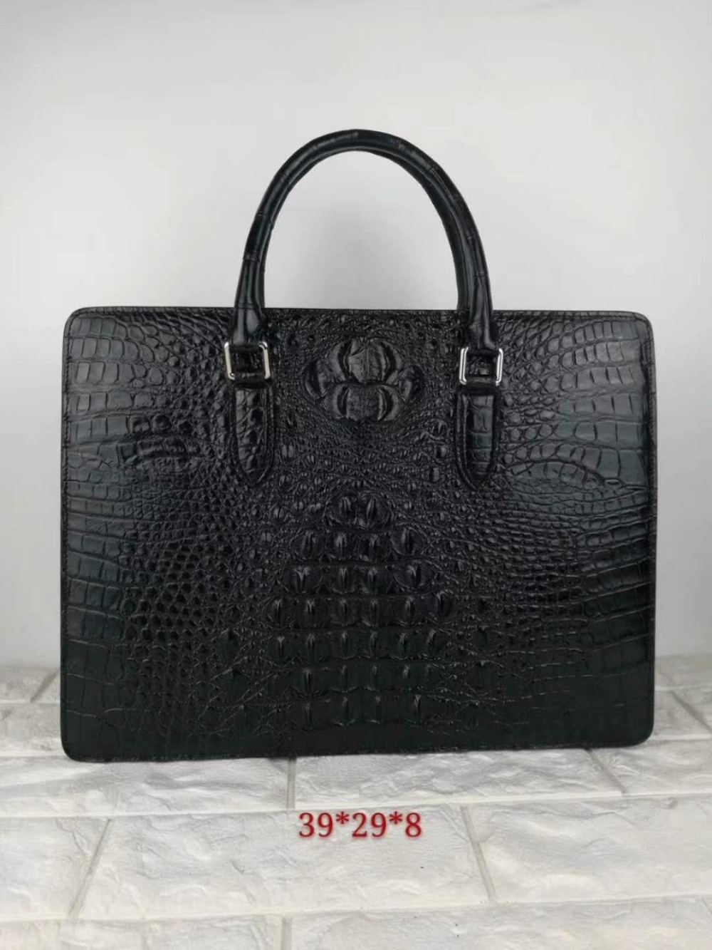 100% Genuine Real Crocodile Leather Head Skin Men Business Bag Laptop Bag Briefcase Zipper With Code Locker Closure Cow Strap