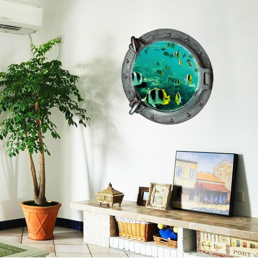 Home Decor Fantastic Submarine Portholes Fish Wall Sticker Home Decor wall sticker Home Deco mirror AU2