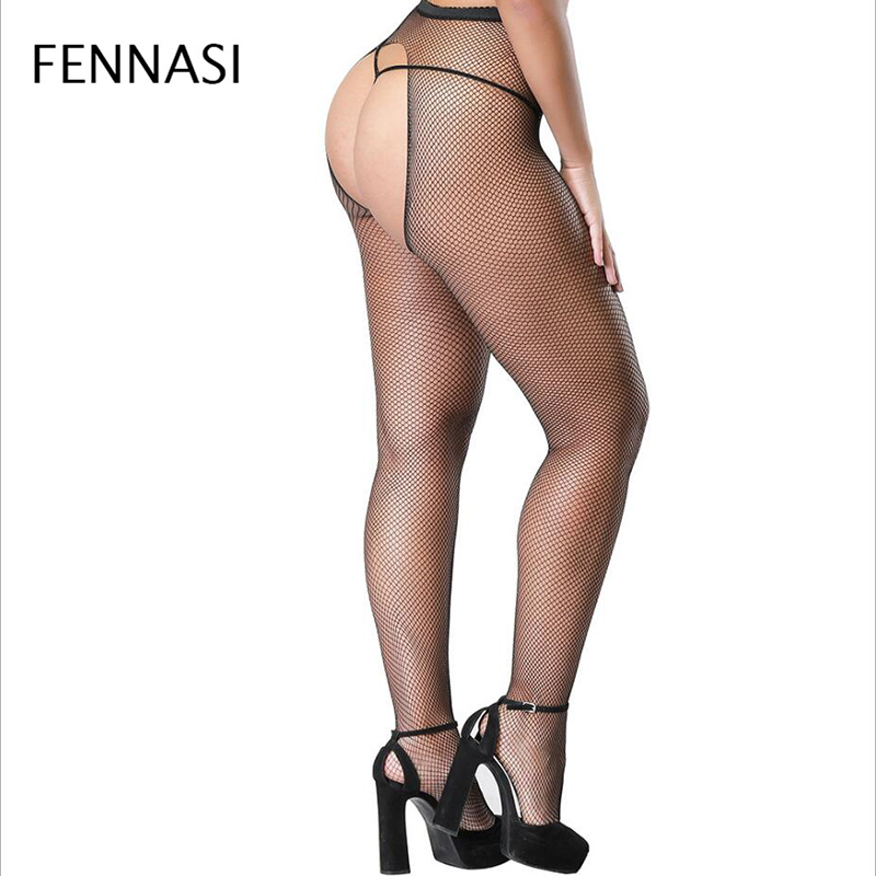 FENNASI Hot Sexy Womens Fishnet Tights Open Crotch Mesh Pantyhose Plus Size Lady Nylons Stockings Fish Net Hosiery Collant