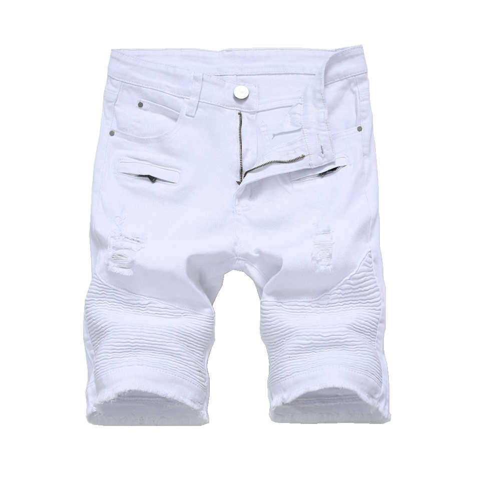 d256e09585b87 Summer Mens Denim Shorts Slim Casual Knee Length Short Hole Jeans Shorts  For Men Straight Bermuda