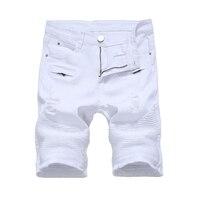Summer Mens Denim Shorts Slim Casual Knee Length Short Hole Jeans Shorts For Men Straight Bermuda Masculina White Black Red