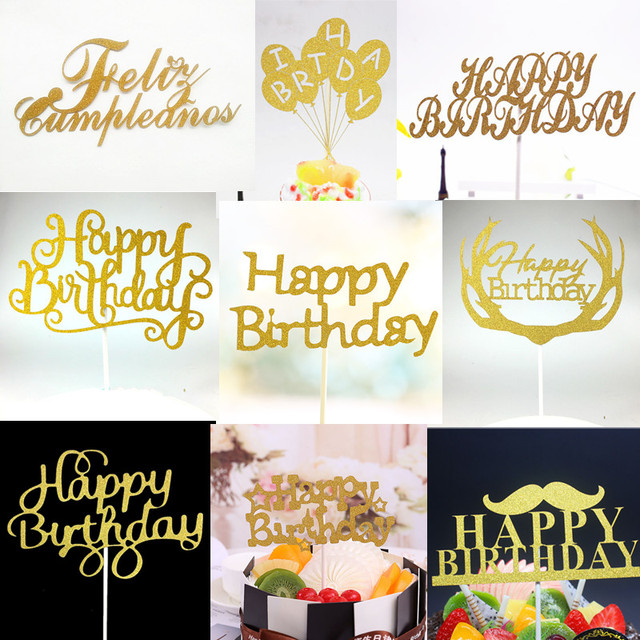 1PC Glitter Happy Birthday Flag Cake Topper Party Favors Sticker Decor Banner Card