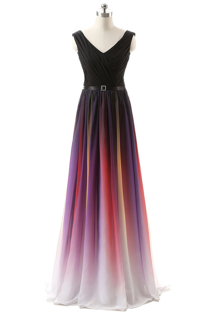 Auf Lager Real Photo Ombre Kleid Lily Collins Lange Prom Kleider ...