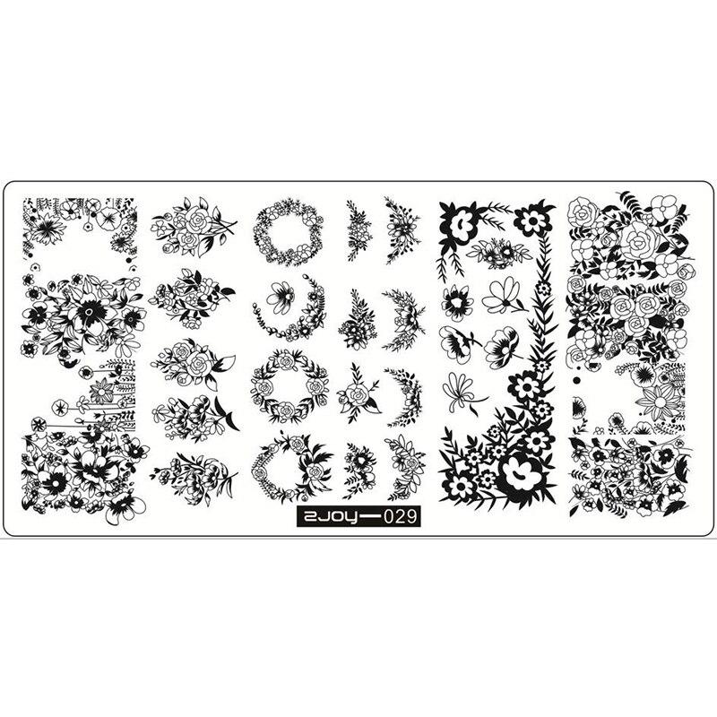 1 pc 12.5*6.5cm zjoy retângulo placa de carimbo grupo flor padrão manicure prego arte selo imagem placa h0564 manicure placas