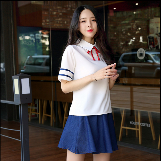 Japanese School Uniform Sailor Suit Cosplay Costumes Cute Girls Student Clothing Jean Skirt Top+Skirts+bow-tie