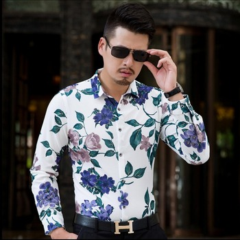 S-7xl 2020 New Spring And Autumn Long-sleeved Shirt Men's Business Slim Print Floral Shirt Casual Plus Size Flower Shirts Tide
