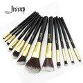 Jessup Pro MakeUp Cosmetic Set Eyeshadow Foundation wood Brush blusher Tools set  12pcs Black/Gold