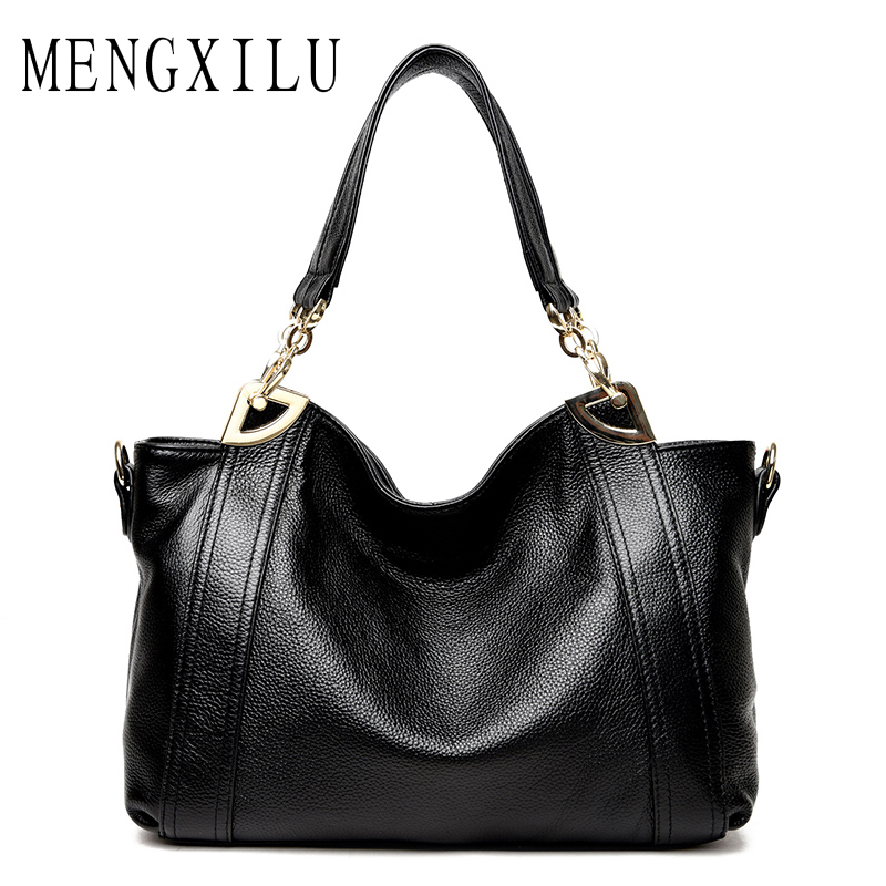 MENGXILU Ladies Women Genuine Leather Bags Handbags Women Bag Ladies Designer High Quality Crossbody Bags For Woman Black Sac mengxilu brand tote luxury handbags women bags designer handbags high quality pu leather bags women crossbody bag ladies new sac