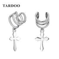 Tardoo High Quality 925 Sterling Silver Clip Earrings For Women Cross New Punk Style Delicating Clip
