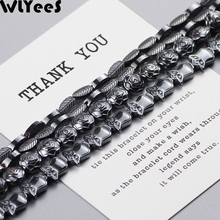 WLYeeS Special-shaped Hematite beads Leaves Owls Roses Black Natural stone Spacer Loose Beads for DIY Jewelry Bracelet Making