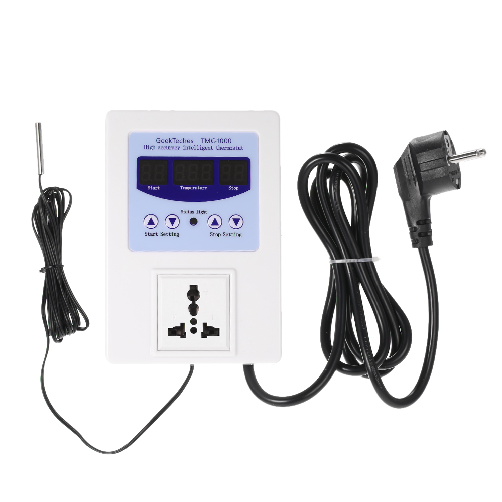 240V 10A LED Digital Intelligent Pre-wired Temperature Controller Outlet with Sensor Thermostat Heating Cooling Control Switch цена 2017