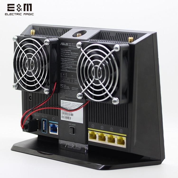 E & M Disipar de Corriente USB Ultra Silencioso Ventilador De Refrigeración Del Radiador de Calor de Control de Temperatura Para RT-AC68U EX6200 AC15 AC68U Router