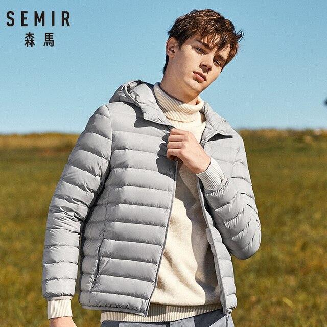 SEMIR thương hiệu của người đàn ông xuống áo khoác thời trang giản dị áo khoác mùa đông cho người đàn ông Đội Mũ Trùm Đầu áo gió màu trắng vịt áo khoác nam outwear